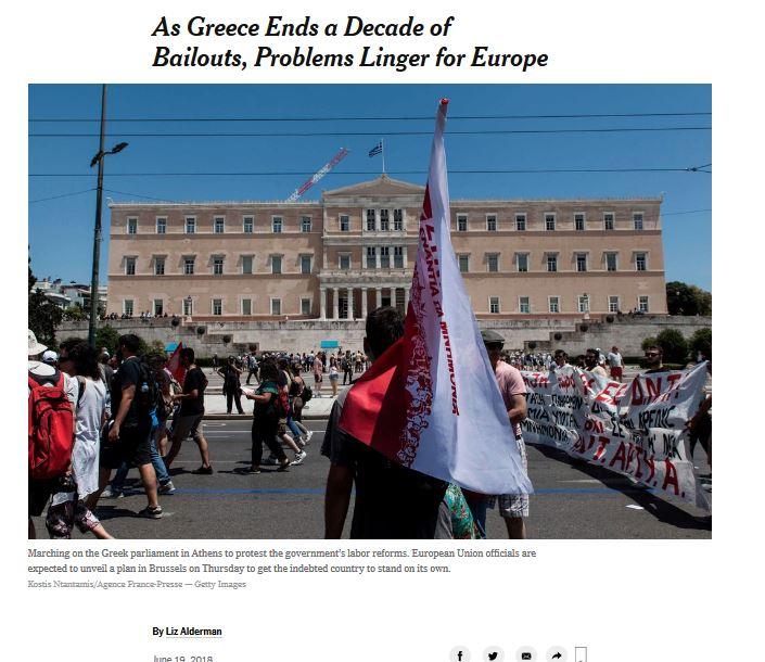 ΝΥΤ: Παρά την έξοδο της Ελλάδας από τα μνημόνια, τα προβλήματα παραμένουν