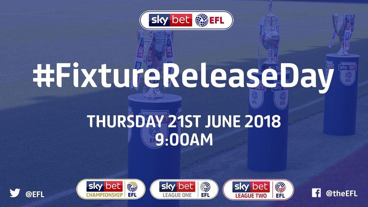 24 hours until the 2018/19 #EFL fixture schedule is revealed! Excited? 😀 #FixtureReleaseDay