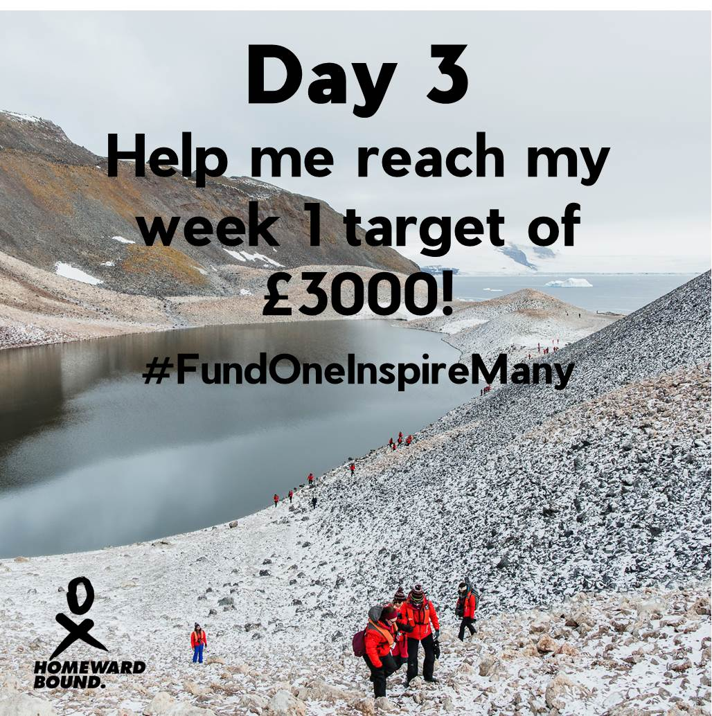 Day 3 of my 30 day campaign! Week 1 aim: raise £3000 - a quarter of my final target! Support me to be a visible female leader and inspire women and girls that they can be leaders &amp; make changes they want to see!  https:// chuffed.org/project/helenw ade-homewardbound &nbsp; …  #TeamHB2019 #generationequal #womeninSTEMM<br>http://pic.twitter.com/LwaDky5PLD