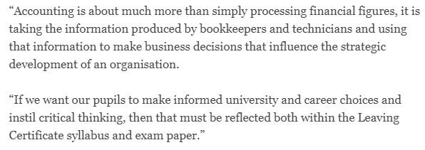Stephen O'Flaherty, Chair @ACCAIreland, is featured in today's @IrishTimes calling for urgent reform of #accountancy skills assessed in the #leavingcert2018 https://t.co/dFBYHMidyU