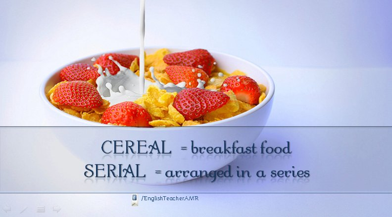 Don&#39;t get confused: #english  - Cereal vs Serial  #BuenMiercoles #lifestyle #today<br>http://pic.twitter.com/9FtfGckktu