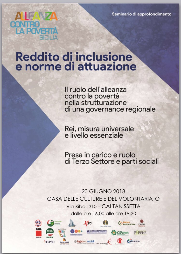 #Alleanzacontrolapovertà Sicilia a Caltanissetta seminario di approfondimento sul #Reddito di inclusione, contrasto alla povertà sfida per o sviluppo dei territori @CislSicilia   - Ukustom