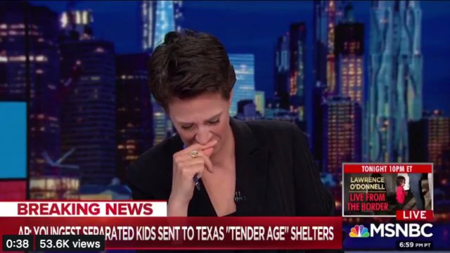 WATCH: Rachel Maddow breaks down in tears while describing 'tender age' shelters for babies separated from families https://t.co/4CHqeRhiOz