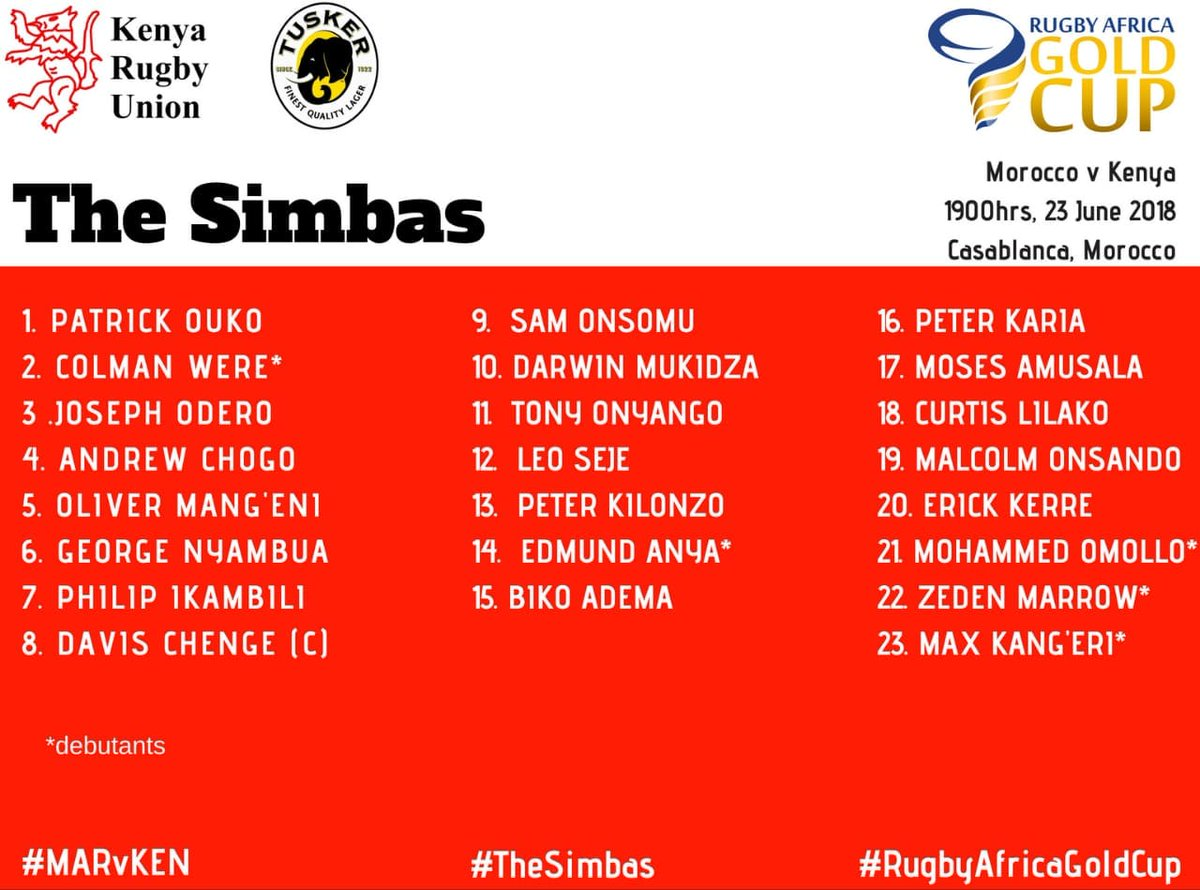 🏆🏉 #Rugby #Africa #GoldCup #Kenya 🇰🇪 has named the team that will face hosts #Morocco 🇲🇦 this Saturday, 23rd June at 18:00 CAT. #RWC19 #RAGC2018  @RugbyAfrique @AIPSmedia @WorldRugby @rugbyworldcup @OfficialKRU @RugbyMAR_