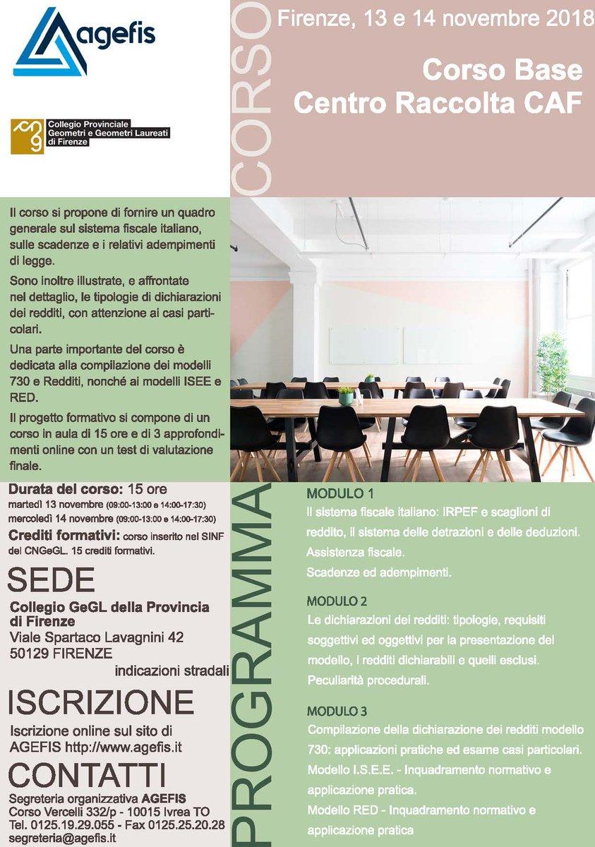 Il 13 e 14 novembre, a #Firenze, torna il Corso base per Centri Raccolta Caf.15 crediti formativi per i #geometriScopri il programma  http:// www.agefis.it/formazione/evidenza/corso_pgf_base_caf_18111314_fi.html #corso #formazione #caf #fisco #tasse #geometra #novembre  - Ukustom