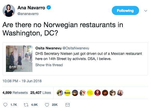 Appears no authorities intervened to stop abolish-ICE antifa harassing DHS Secy Kirstjen Nielsen at DC restaurant last night. Meanwhile, CNN's @ananavarro suggests Nielsen, a Florida native, should stick to her own ethnicity in choosing restaurants. https://t.co/RF0ovbK0cc