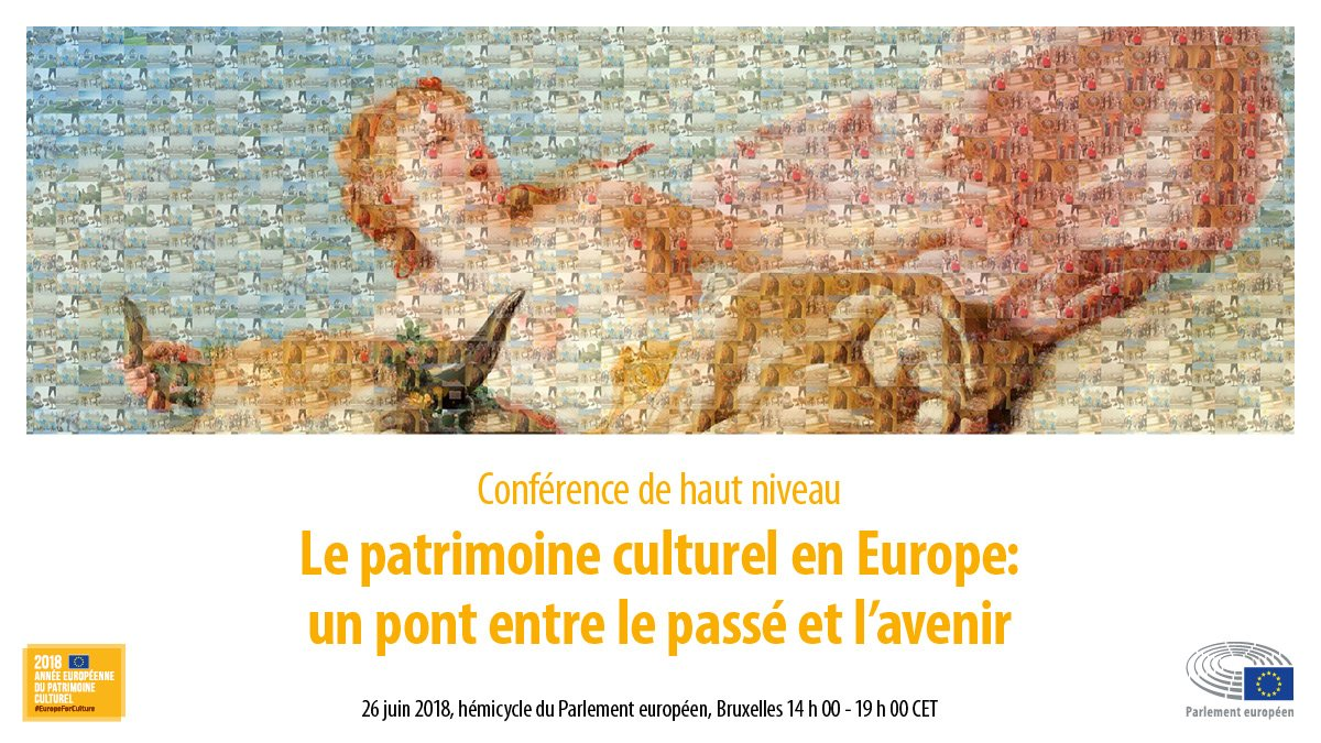 Amateur-trice de #culture ?! Dernier jour pour s'inscrire à la conférence de haut niveau sur 'le patrimoine culturel en Europe : un pont entre le passé et l'avenir' le 26/06 au Parlement UE à Bruxelles.   Programme : https://t.co/lSgG7OgmzB Inscriptions : https://t.co/JqsQSG46o4