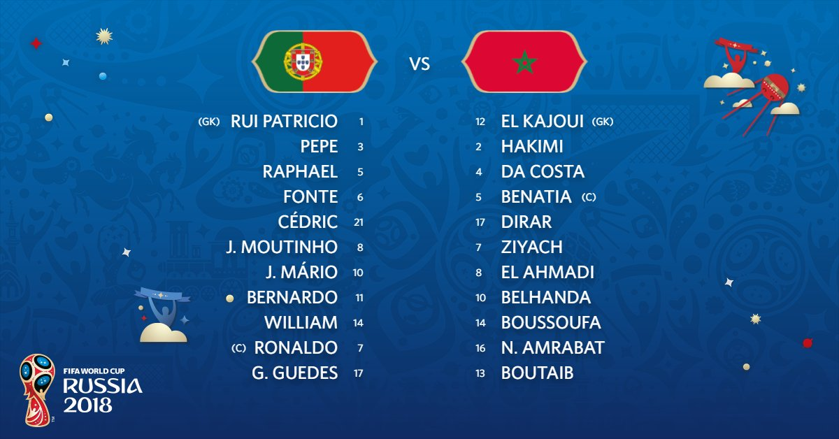 The teams are in for #PORMAR!   #WorldCup https://t.co/73Cx1XolJV