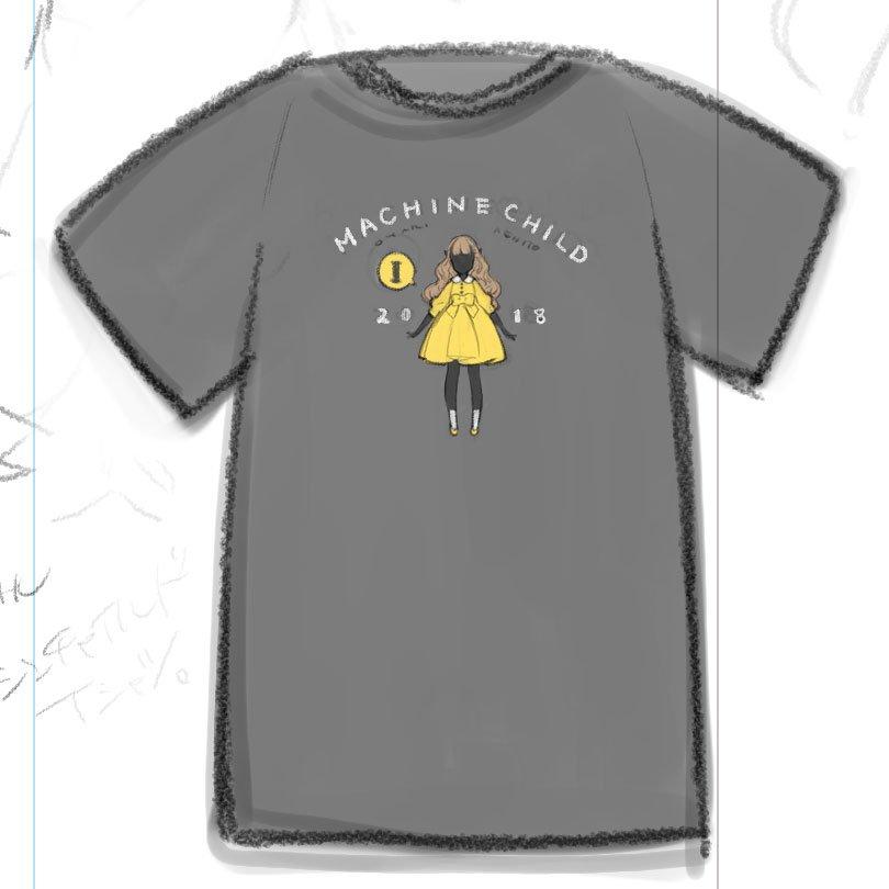 マシンチャイルドTシャツデザインラフ。 こういうのどお?