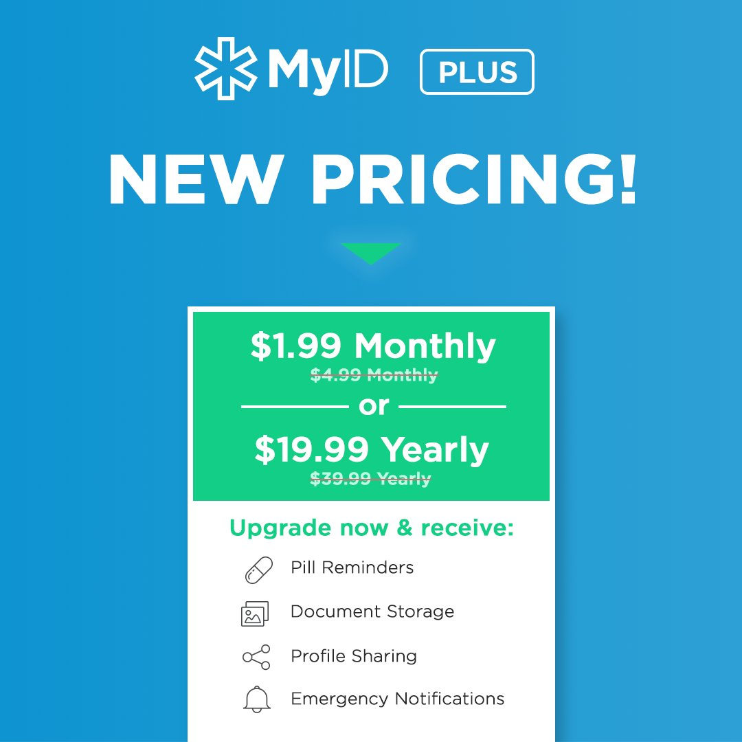 With the release of our new app, we have added features to our Plus subscription and reduced the price. Yes, you heard it right, more for less.  #peaceofmind #moreforless #medicalid #healthapp   Set up your free profile today:  http:// ow.ly/fF0F30kzHto  &nbsp;  <br>http://pic.twitter.com/cztUs61rmm