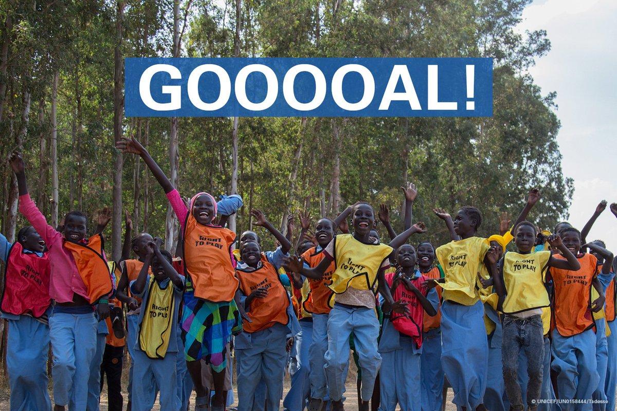 GOOOOOOOOOOAAAAAAAAAALLLL!!!! Show us your #LongestGoal of the day! This #WorldCup show your support for refugee & migrant children by taking the challenge → uni.cf/Longest-Goal #PORMAR #POR #MAR