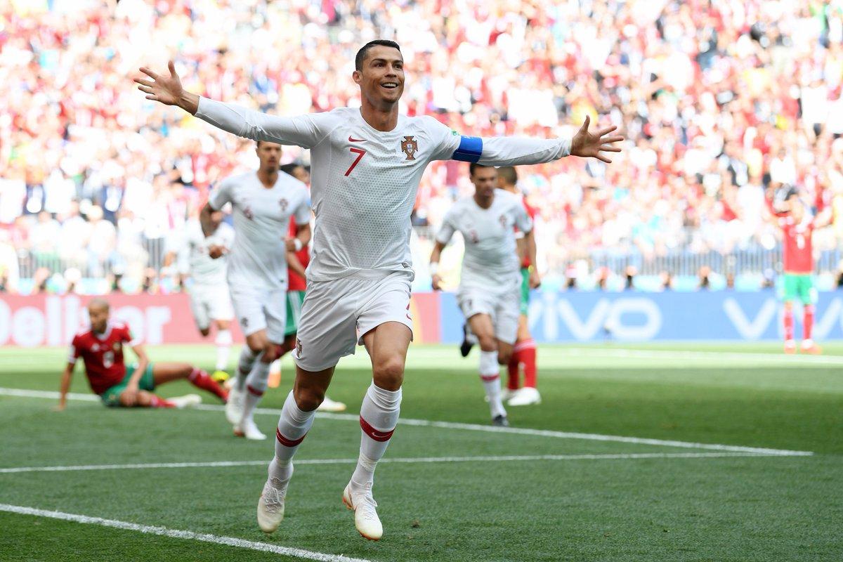 هدف رونالدو في شباك منتخب المغرب