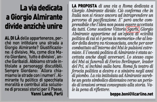 """La via decicata a Giorgio #Almirante divide anzichè unire. @VittorioSgarbi #Sgarbi Giorgio Almirante appartiene ad un #epoca di """"#civiltà politica cui si è persa la #memoria"""" @stampasgarbi #Roma  - Ukustom"""