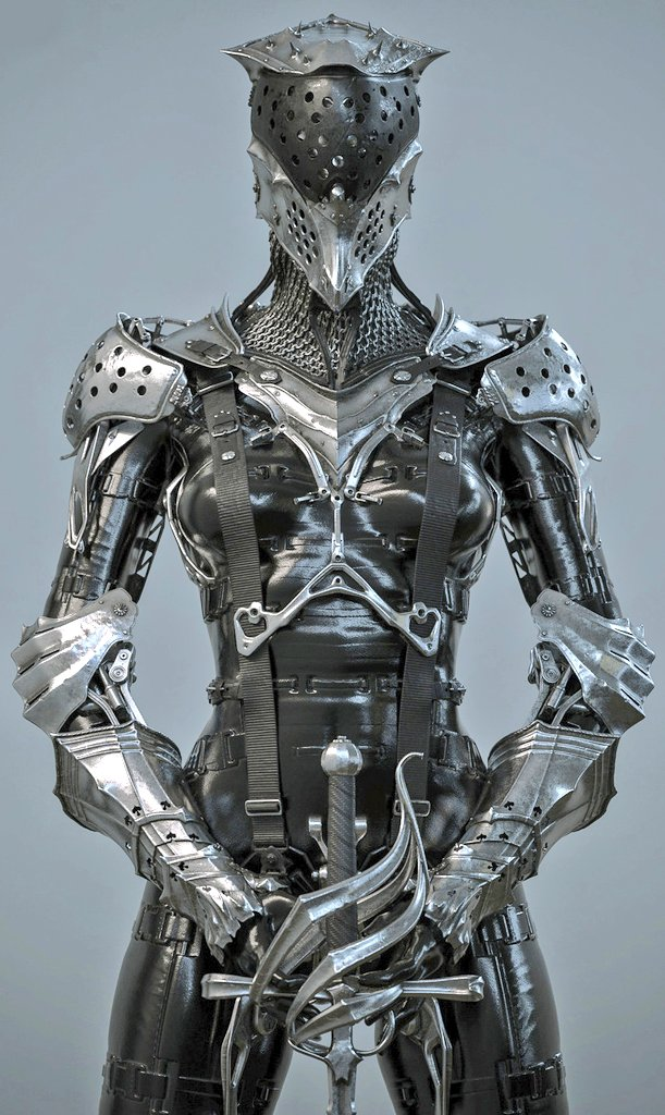 I am 10000% down for a medieval-futuristic game where your knight wears this armour