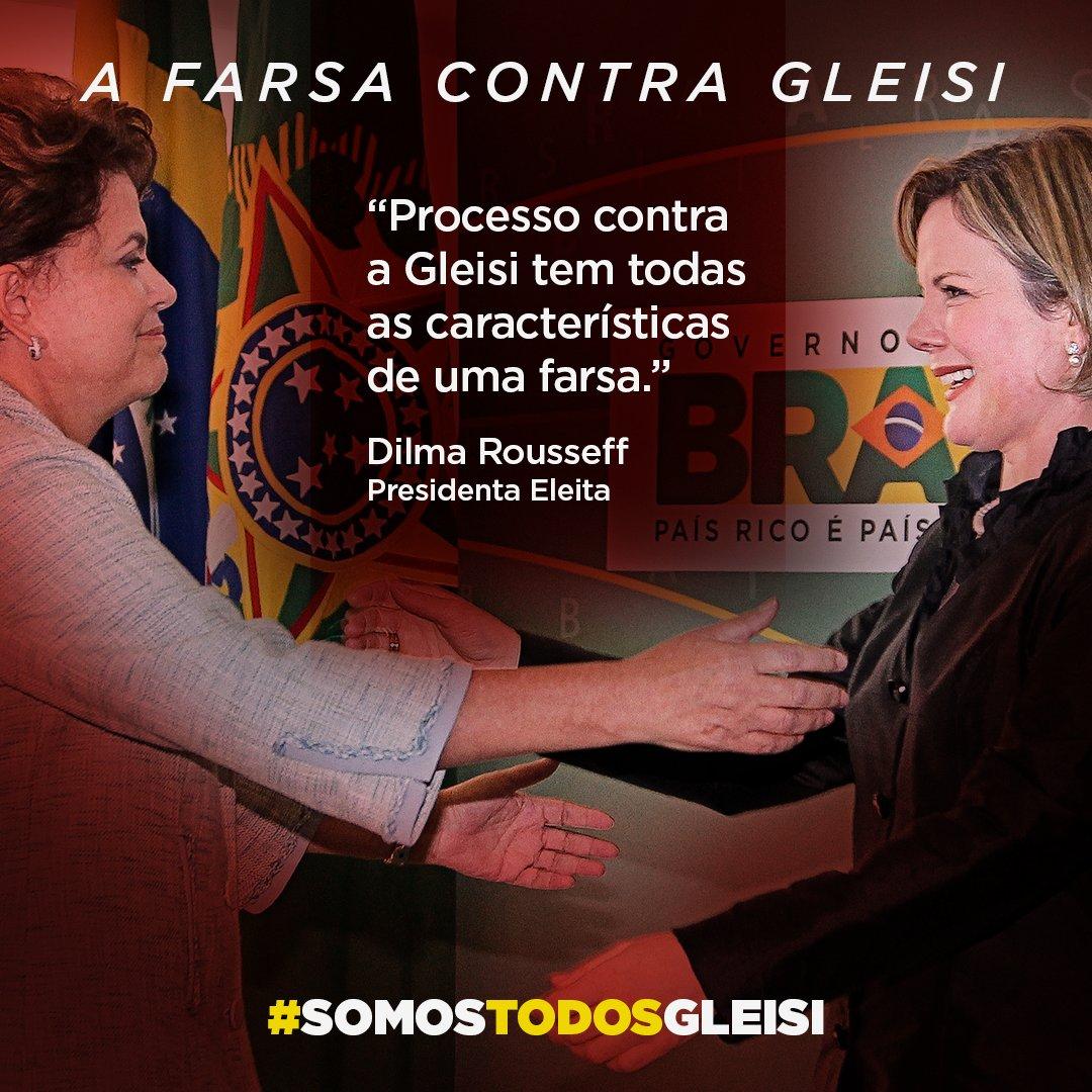 """Em nota, a presidenta eleita @dilmabr afirma que a senadora @gleisi""""passou a ser o principal alvo da perseguição jurídica e política que levou o ex-presidente @LulapeloBrasil à prisão"""".  👉https://t.co/6rtihUpYfT"""