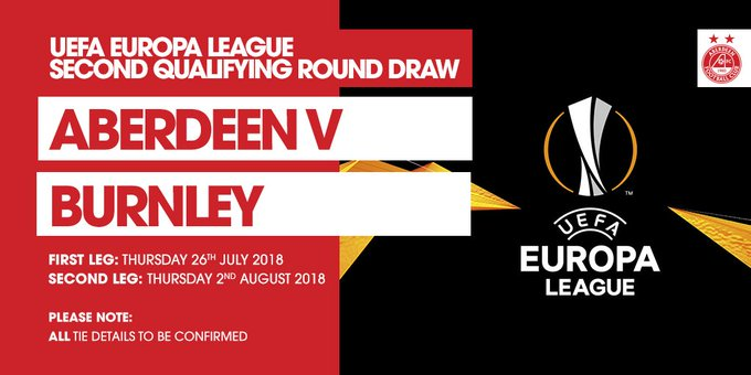 CONFIRMED | The Dons have been drawn against Premier League side Burnley in the UEFA Europa League Second Qualifying Round Draw #StandFree Photo