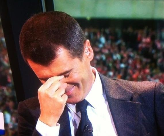 Roy Keane has just heard that Gareth Southgate dislocated his shoulder whilst out on a jog. Seems to have cheered him up... 👀