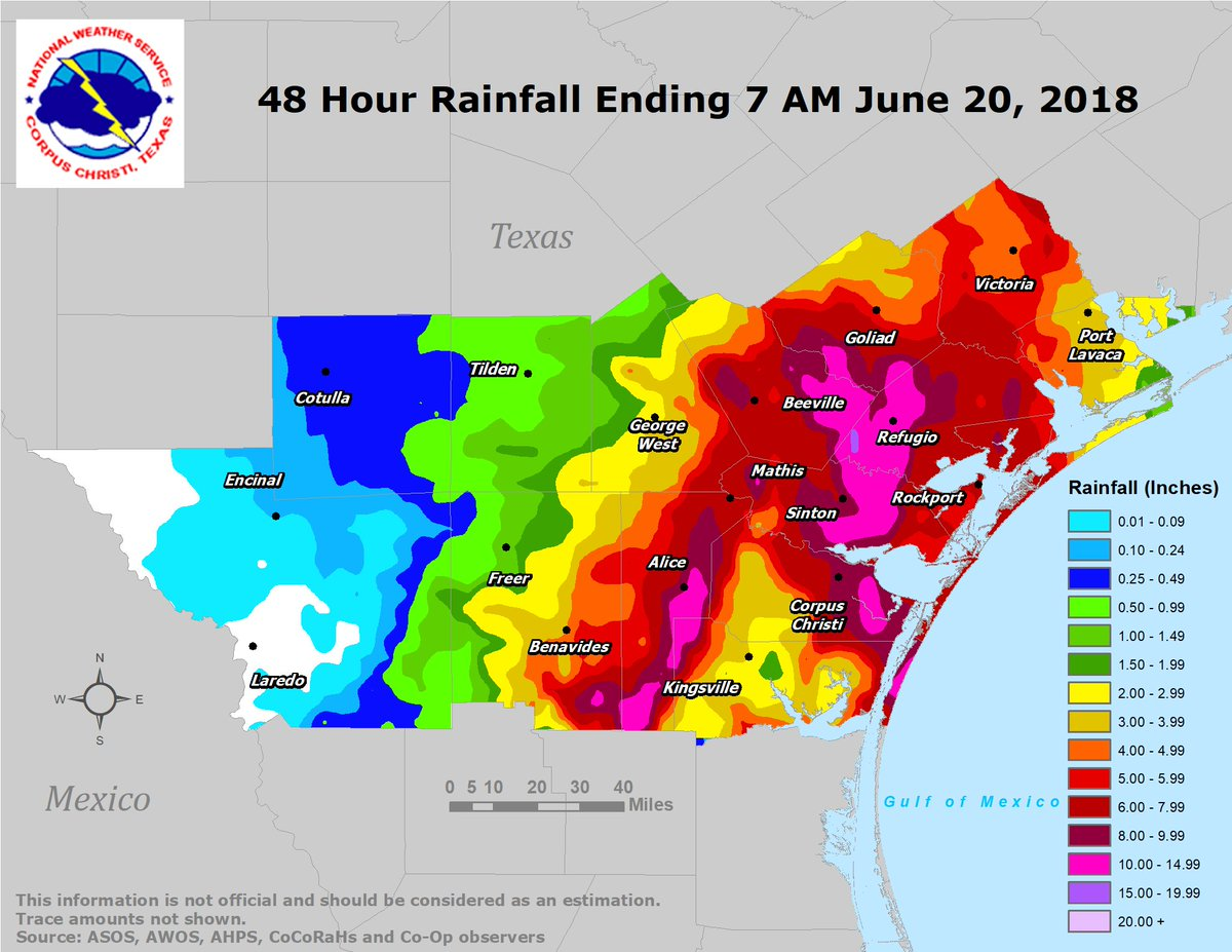Here is the observed 48-hour rainfall ending at 700 AM June 20, 2018 for South Texas.