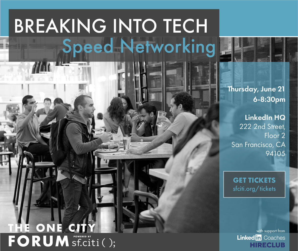 Looking for insider insight on how to work in #tech from tech employees themselves? Join @sfciti for a night of speed networking at Breaking Into Tech TOMORROW, June 21! Plus, get your resume reviewed by @hireclub!  https://t.co/fdAf4hzvAa #BreakIntoTech #OneCitySF