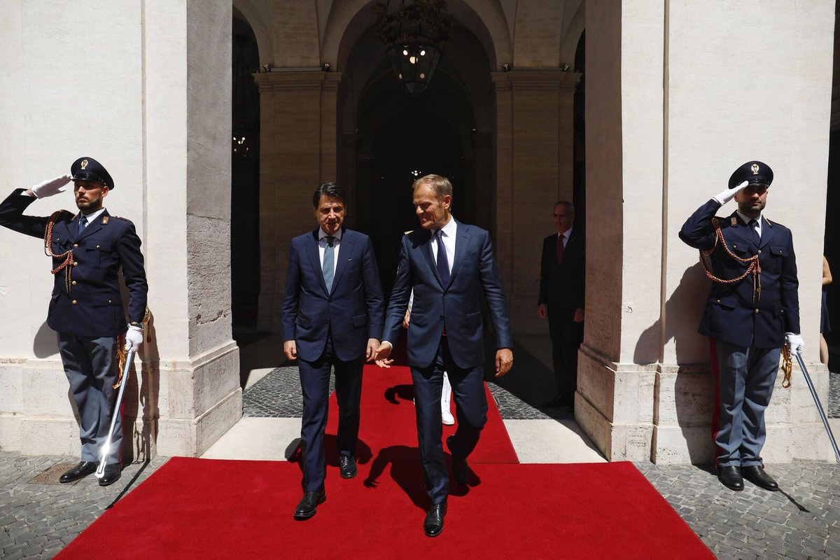 Happy to meet PM @GiuseppeConteIT in Rome after #G7Charlevoix. Good discussion ahead of #EUCO next week on the need to stem illegal migration.