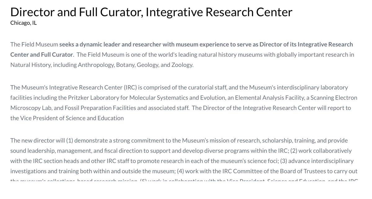 Museum researchers - come join the vibrant EvBio community in Chicago as Director of Research / Curator at the Field Museum. Great opportunity at a world class institution in a fantastic city! fieldmuseum.org/about/careers