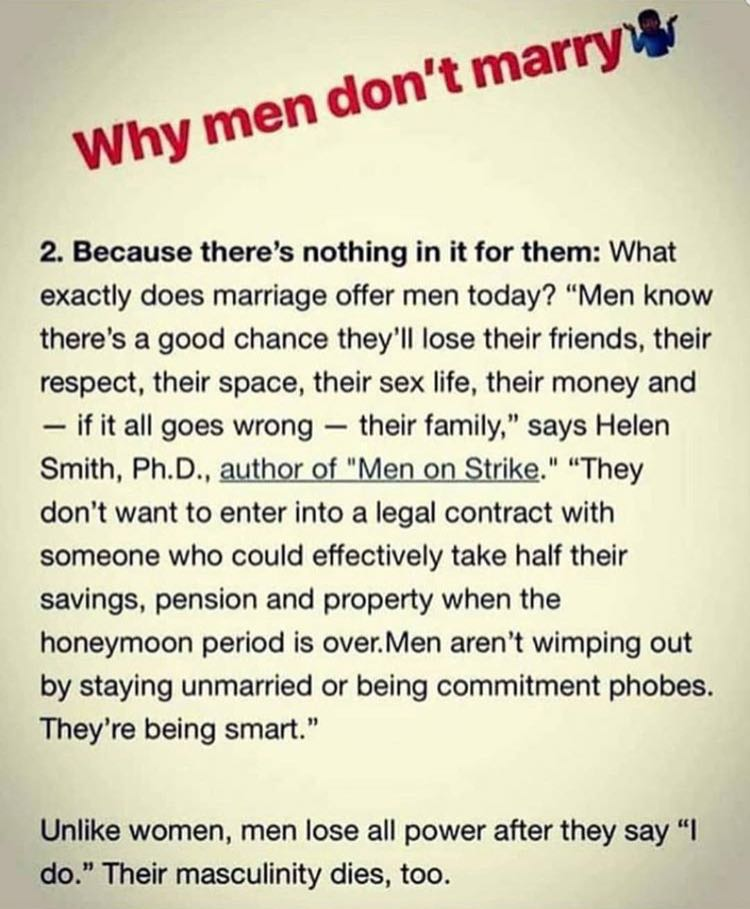 Men don t want to get married