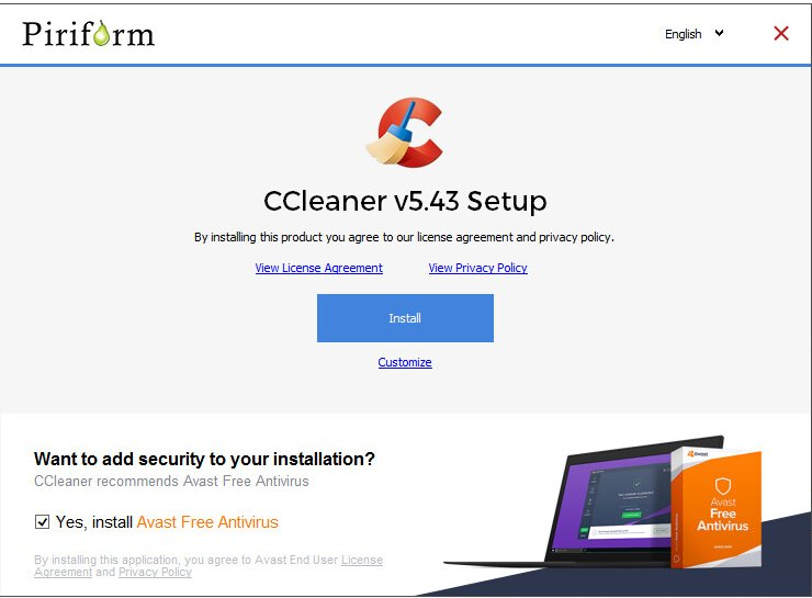 Ccleaner Pa Twitter Hi The Avast Install Offer Is Optional And Designed To Not Install Avast During The Ccleaner Install Below Is The Screen That Is Displayed Before Installation If For Any