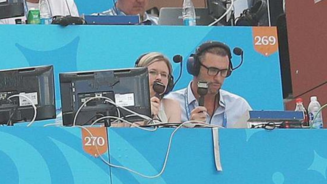 Vicki Sparks and Martin Keown commentating on the World Cup