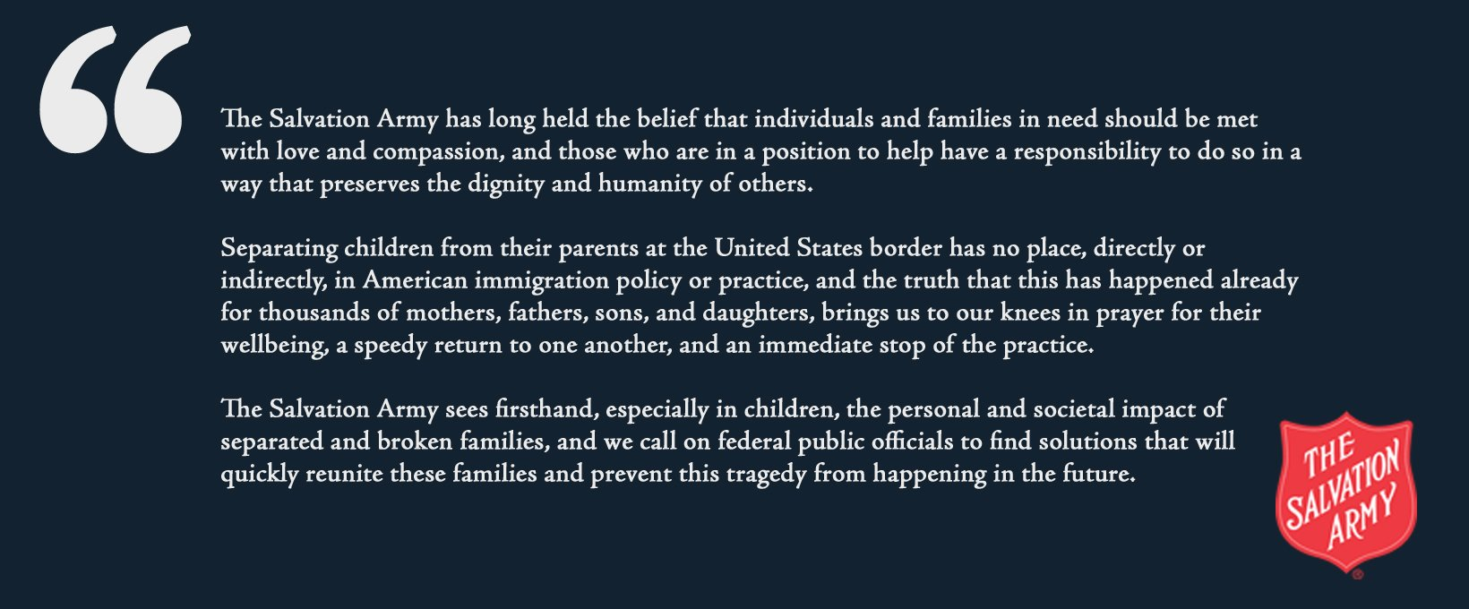 The Salvation Army Official Statement on Separation of Families at the U.S. Border: https://t.co/o2N8O7p1SS https://t.co/GZLKVi1oUX