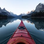 Image for the Tweet beginning: A morning paddle on Maligne.