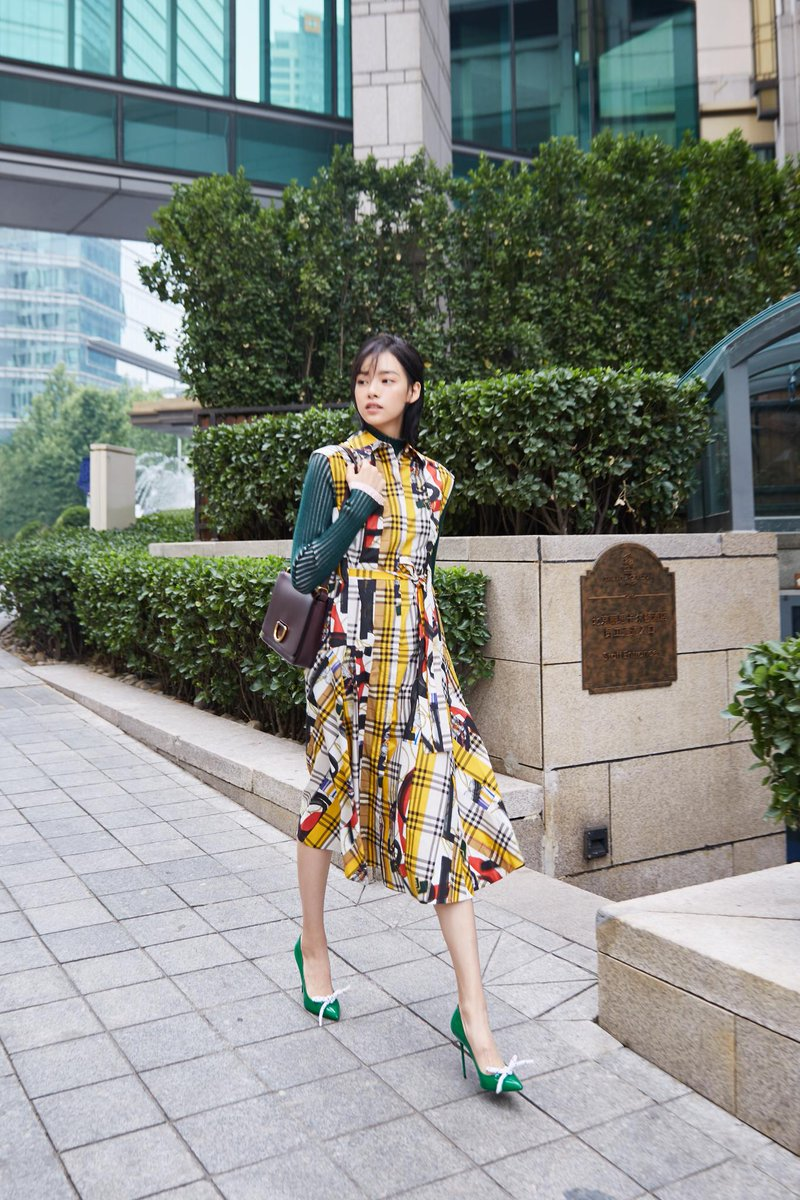 Zhang Yishang wearing a @Burberry archive-scarf-print shirt dress, rope-detail pumps and a D-Ring bag in Beijing