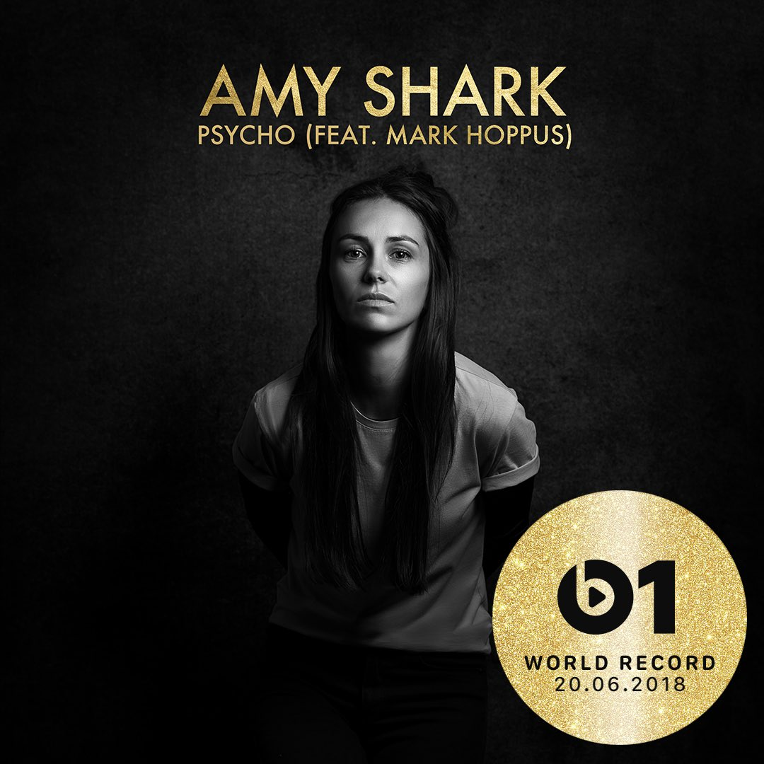 Today's #WorldRecord from @AmySharkMusic featuring @markhoppus 'Psycho' 👉🏼📲 LISTEN apple.co/_PsychoWR