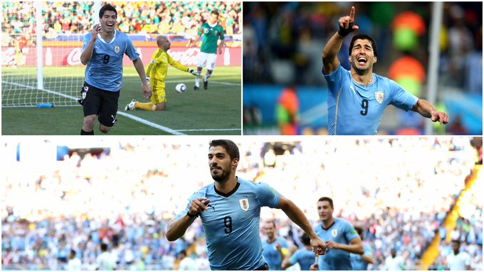 Luis Suarez - the first player to score at three different editions of the #WorldCup for @Uruguay! Photo
