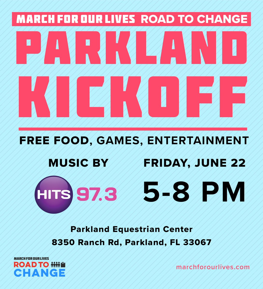 RT @delaneytarr Are you all ready to kick off the Florida Road to Change?? Come over to the Parkland Equestrian Center this Friday to hang out with us!! There'll be dessert trucks and voter registration, so how could you refuse?? #RoadtoChange
