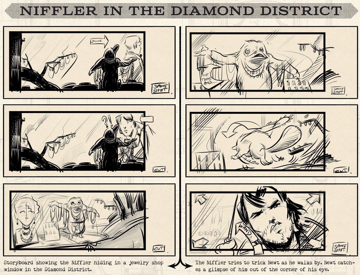 Storyboard d'une scène mythique entre le Niffleur et Norbert Dragonneau dans Les Animaux Fantastiques. #FantasticBeasts #CrimesOfGrindelwald  - FestivalFocus