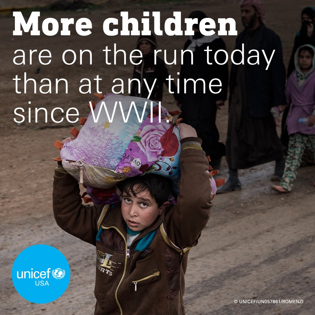 The scale of the child refugee crisis is staggering. This #WorldRefugeeDay, children forced from their homes need our help now more than ever: https://t.co/PHn721aqwC  #AChildIsAChild @unicefusa