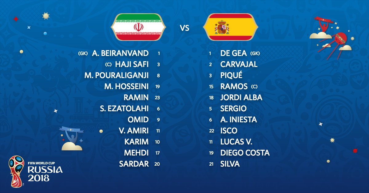 TEAM NEWS!   We have the Starting XIs for #IRN and #ESP   #IRNESP