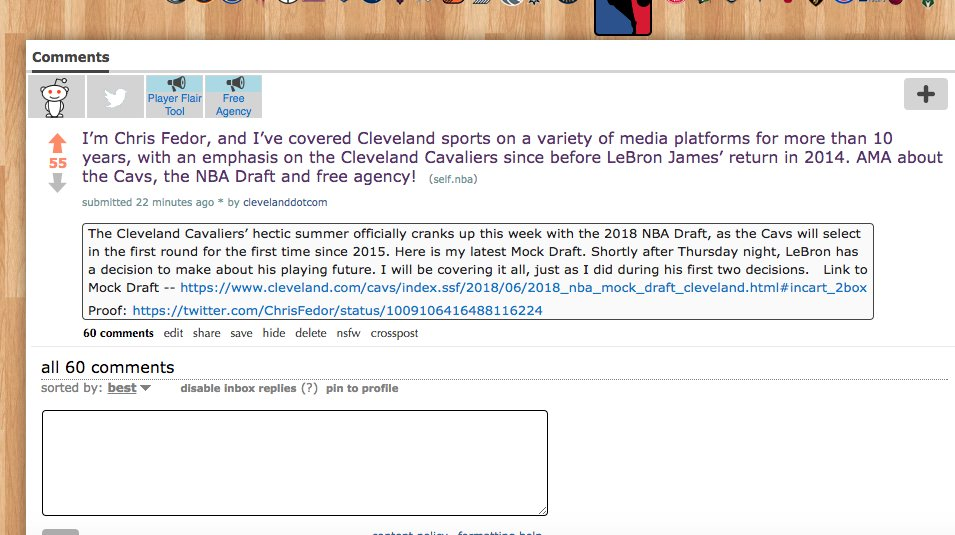 You can get all your @cavs and LeBron James questions answered now by @ChrisFedor in his Reddit AMA here: https://t.co/tcIbnMsEuh