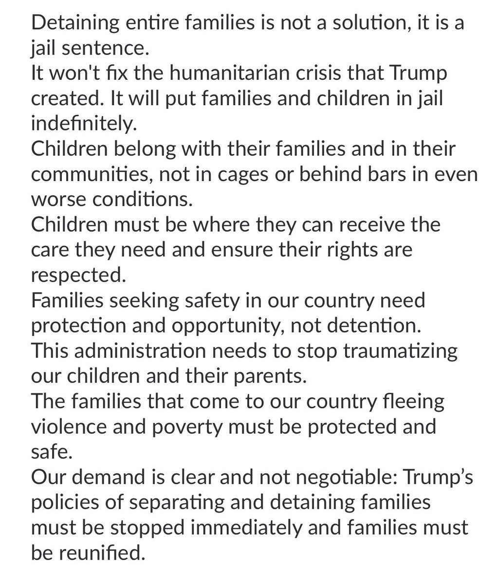 Our demands have not changed, Executive Order or not.   #FamiliesBelongTogether https://t.co/kJPqzBHjdA