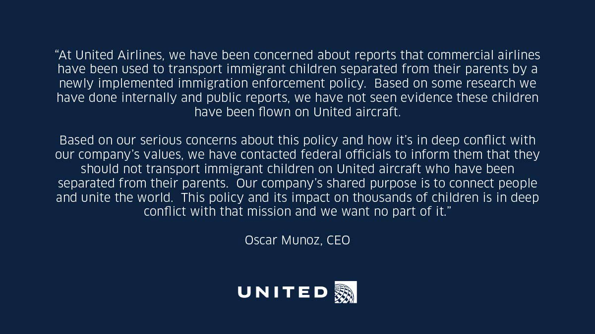 United asks U.S. government not to fly separated immigrant children on our aircraft.