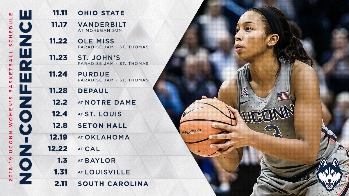 "uconn women's hoops on twitter: ""mark your calendars, the 2018-19"