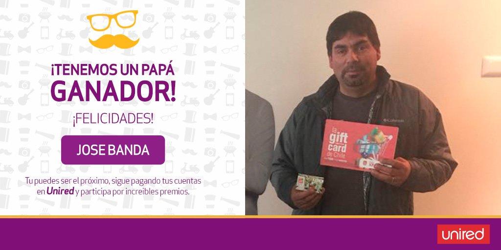 ¡Felicitamos a Jose Banda! El suertudo papá ganador de 1 de las 2 #giftcard de $100.000 🎉😉.  Paga todas tus cuentas en #Unired y el siguiente puedes ser tú 👌. https://t.co/vKSQBnHRx8