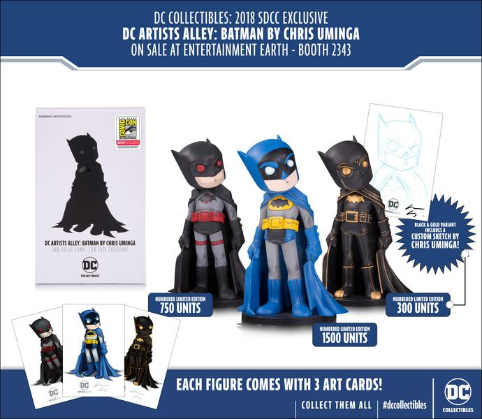 The Dark Knight comes to life in three variant designs of the DC Artists Alley: Batman by Chris Uminga figure! Learn more about the impressive #DCCollectibles, available exclusively at San Diego Comic-Con 2018: bit.ly/2K9MsRA