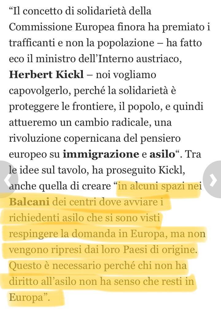 Dichiarazione del Ministro degli Interni Austriaco, Herbert #Kickl, dopo incontro con Matteo #Salvini. Ho letto bene? È quel che penso? Aiutatemi a capire.. #portaaporta #immigrazione  - Ukustom