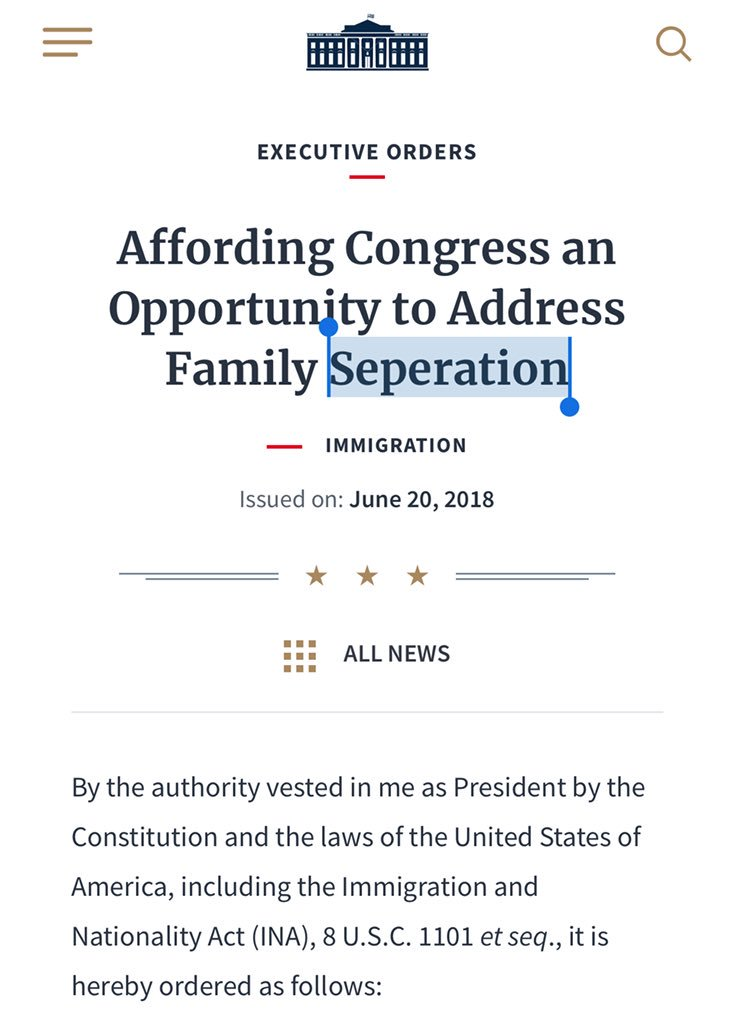 """And the word """"Separation"""" is misspelled in the title of the executive order, because, of course it is:"""
