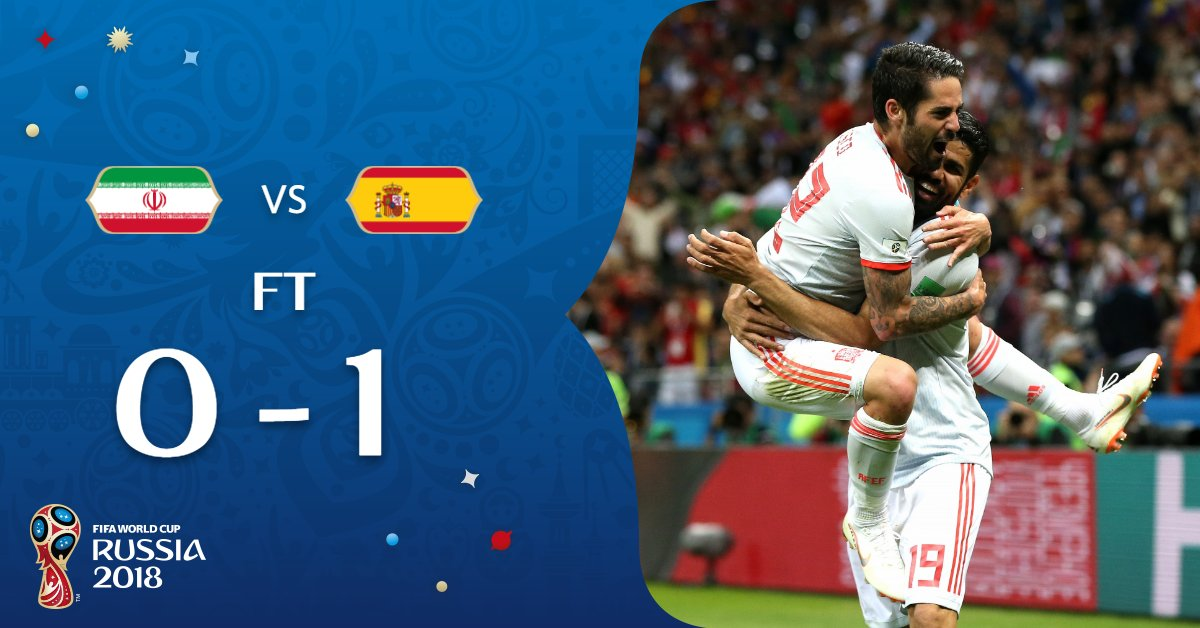 Three games, three 1-0 scorelines...  A tight day, but #POR #URU and #ESP all do what they need to do.   #IRNESP