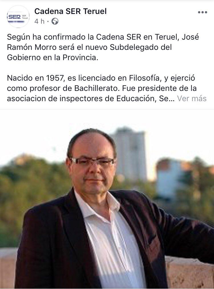 Me produce una gran felicidad que @joseramon_morro vaya a ser el próximo Subdelegado del Gobierno en Teruel. Es una gran persona, trabajador, inteligente y un magnífico compañero. Gran elección!