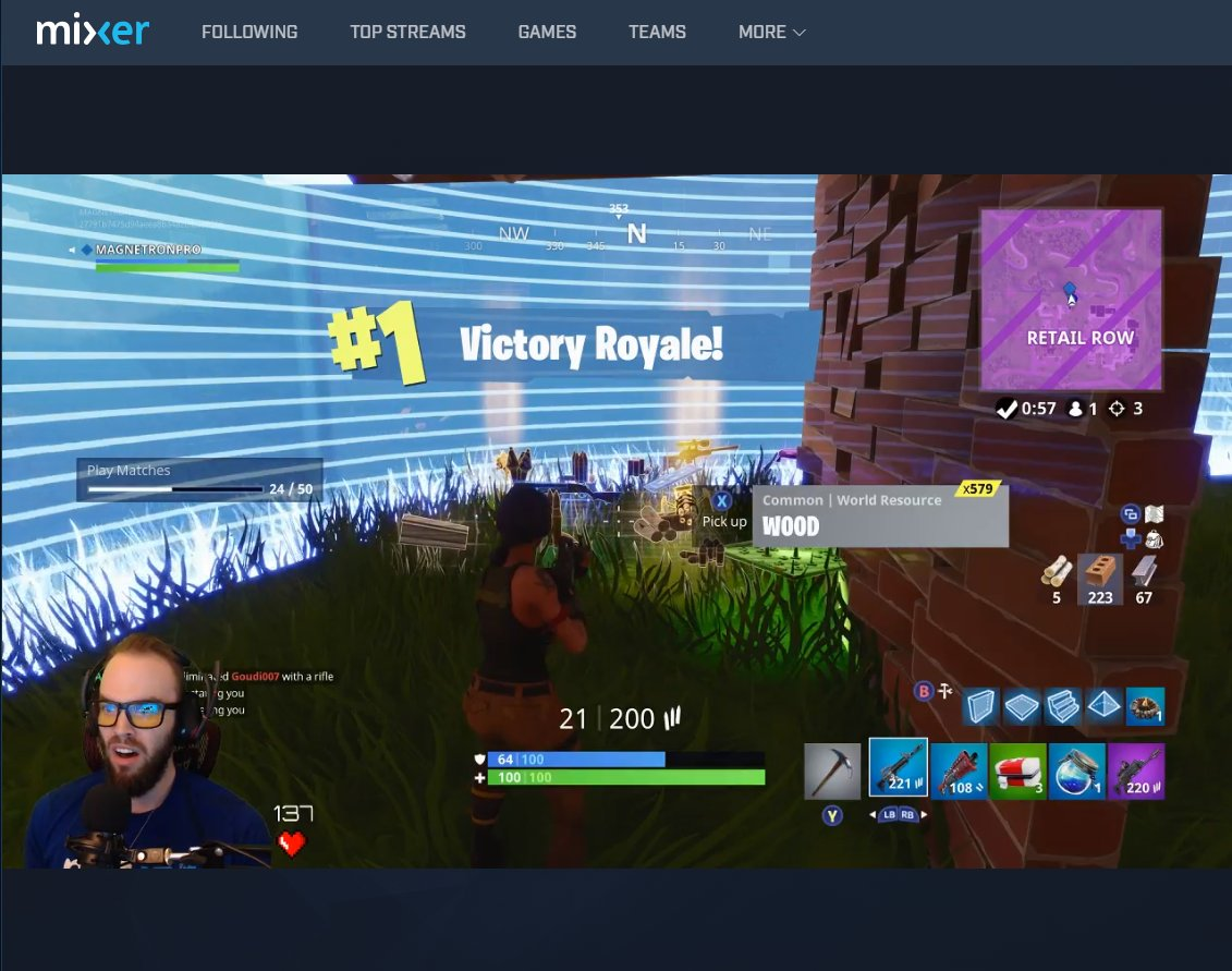 That face when you get an unexpected #Xbox #MixerSolos @FortniteGame #VictoryRoyale!  GG @MAGNETRONPRO!
