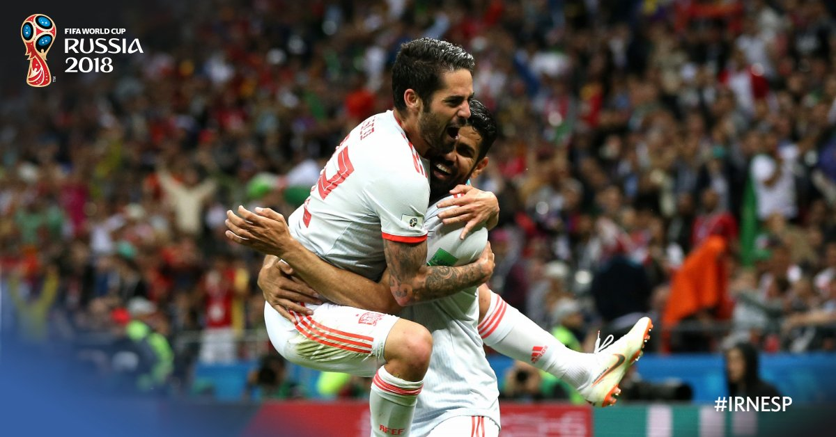 Costa's goal earns Spain maximum points against Iran