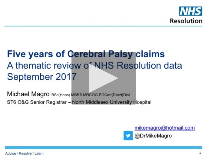 My recent presentation at the @RoySocMed now free to view online https://videos.rsm.ac.uk/video/key-learning-for-5-years-of-cerebral-palsy-claims … @NHSResolution @RSM_Darzi @babylifeline @JamesTitcombe @RCObsGyn